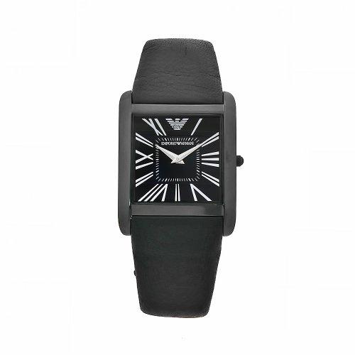 Emporio Armani AR2027 - Reloj de unisex de cuarzo negro con correa de piel (cristal mineral)