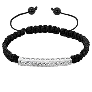 Pugster Clear White Crystal Black String Adjustable Bracelet