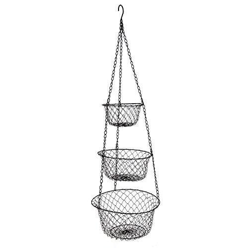 MELODY OLINA 3 Tier Hanging Fruit or Vegetable Kitchen Storage Baskets in Black (Black Hanging Kitchen Baskets compare prices)