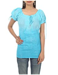 Rajrang Party Wear Women's Cotton Sky BLue Top Size S