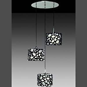 Luminaire suspension triple moon noir cuisine for Suspension triple pour cuisine
