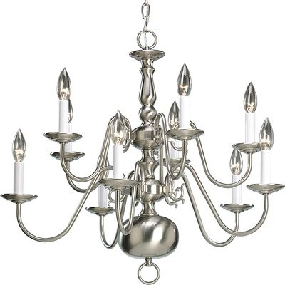 Progress Lighting P4358-20 10-Light Two-Tier Americana Chandelier, Antique Bronze