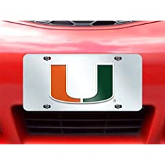 Buy FANMATS NCAA University of Miami Hurricanes Plastic License Plate (Inlaid) by Fanmats
