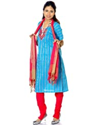 Exotic India Turquoise And Magenta South-Cotton Suit With Embroidery - Turquoise