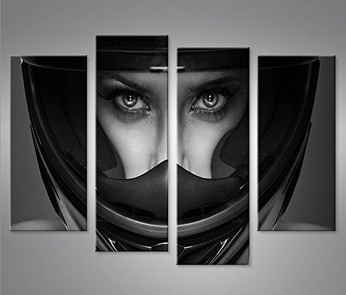quadri-moderni-frau-mit-motorrad-helm-4er-stampa-su-tela-quadro-x-poltrone-salotto-cucina-mobili-uff
