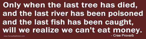 Magnetic Bumper Sticker. Only when the last tree has died and the last river has been poisoned and the last fish has been caught will we realize that we can't eat money. Cree Proverb