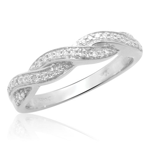 10k White Gold Diamond Stack Rings (1/10 cttw, H-I Color, I2 Clarity), Size 9