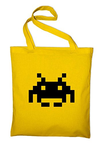 Space Invaders Logo Retro 80s Geek Jute Cotton Tote Bag - 8 colour choices available