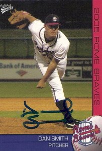 Dan Smith 2005 # 21 Autographed Card Rome Braves by Bud