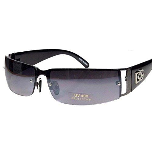 New Dg Mens Womens Rectangular Rimless Designer Sunglasses Shades Eyewear Color-Black/Black Lens