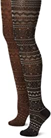 Muk Luks Womens Patterned Tights 2 Pair Pack-Trish