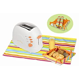 Kalorik TO-25908T Sunny Morning 700-Watt 2-Slice Toaster with Bread Basket and 2 Table Mats, Tangerine