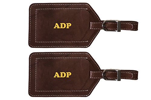 Personalized Monogrammed Toffee Leather Luggage Tags - 2 Pack (Luggage Tags Personalized Leather compare prices)