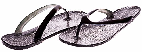 JouJou Ladies Thong Jelly Sandal Size 11 Black (Multiple Colors and Sizes Available) (Heeled Jelly Sandals compare prices)