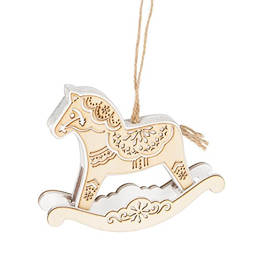 Papercut Rocking Horse Wood Christmas Ornament Figurine Decoration