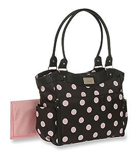 carter 39 s dot print tote diaper bag grey pink baby. Black Bedroom Furniture Sets. Home Design Ideas