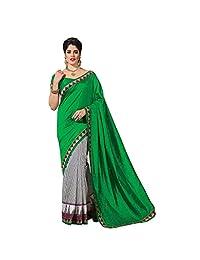 Ashika Designer Green Raw Silk Material Saree, Sari(237)