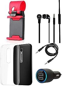 NIROSHA Cover Case Car Charger Headphone Mobile Holder for Motorola G3 - Combo