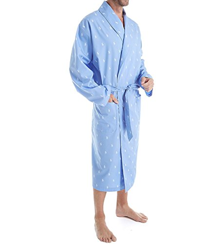 Polo Ralph Lauren All Over Pony Flannel Robe (L009) L/XL/Beach Blue/White