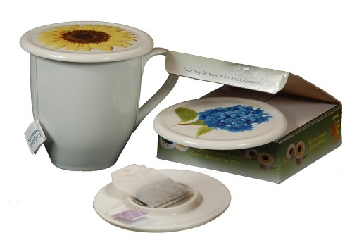 Check Out This Tea Cup Cover and Mug Lid with Tea Bag Caddy