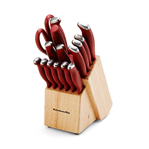 KitchenAid 16 Piece Set Stamped Delrin, Red (Kitchenaid Knife Set With Block compare prices)