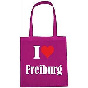"""Tasche""""I Love Freiburg""""Größe""""38x42""""Farbe""""Pink""""Druck""""Weiss"""