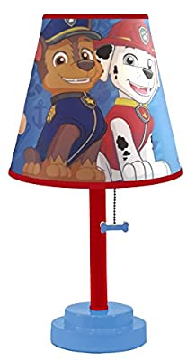 Nickelodeon Paw Patrol Table Lamp with Die Cut Lamp Shade with CFL Bulb