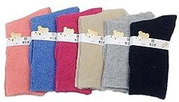 Lian LifeStyle 6 Pairs Pack Children Wool Socks Plain Color Size 0M-1Y (Blue,Gray,Navy,Rose,Orange,Beige)