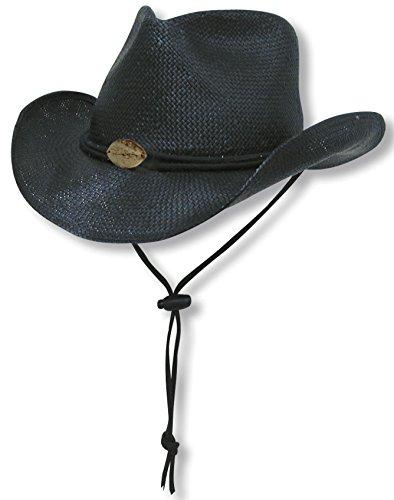 ce5347bd Panama Jack Women's Toyo Cowboy Hat with Adjustable Chin Cord (Black ...