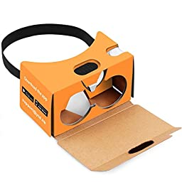 QPAU Virtual Reality 3D Glasses Google Cardboard DIY Kit Compatible with Android & Apple 45mm Lenses HD Visual Experience Includes QR Codes - Orange
