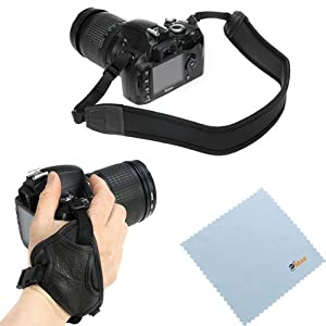 GTMax Black Anti-Slip Neoprene Camera shoulder/Neck Strap Belt + Heavy Duty Stabilizing Hand Grip Strap + Microfiber Cleaning Cloth for FujiFilm FinePix X100S, SL1000, X100S, S8200, S4200, S4500, SL300, S3200, HS50EXR, HS20EXR, S2950, S2800HD; Pentax X-5; Canon SX50 HS, SX500 IS, EOS T5i, SL1 or any other Heavy SLR Digital Cameras