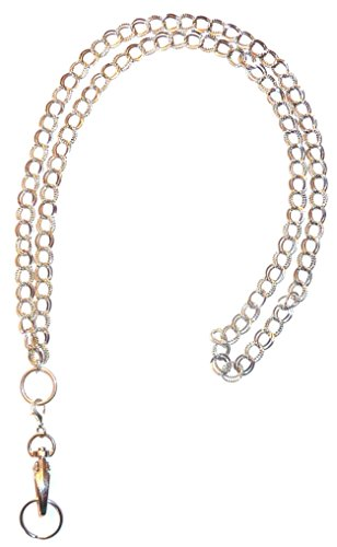 Stainless Steel Chain Lanyard and badge holder 34 inches, Magnetic Breakaway clasp or Non Breakaway options available (Double Chain - Non Breakaway (Stronger)) (Steel Lanyard compare prices)