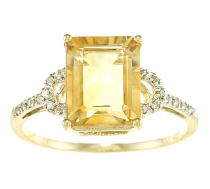 10k Yellow Gold Octagon Citrine and Diamond Ring (1/8 TDW)