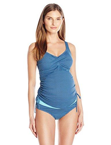 PregO Maternity Women's Maternity Dot Twist Tankini, Navy/Aqua, Small (Amazon Maternity compare prices)