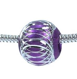 Amazon.com: PURPLE Amethyst Ball European Charm Bead: Arts, Crafts