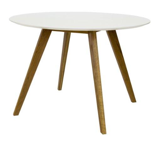2181-001 Bess - Designer Esstisch rund, weiß, Tischplatte MDF lackiert, matt, Untergestell Eiche massiv, Höhe: 75 cm, Durchmesser: 110 cm