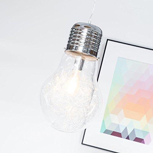 Lampadario di design a forma di lampadina, 27 cm di diametro, cromato, con vetro trasparente