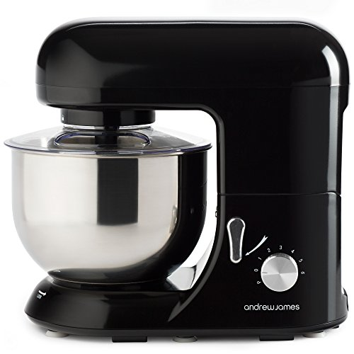 Andrew James Electric 1300 Watt Food Stand Mixer In Stunning Black, Includes 2 Year Warranty, Splash Guard, 5.2...
