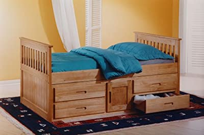 Cloudseller Captains Childrens Storage Bed with 4 Drawers and 1 Cupboard Storage - Waxed