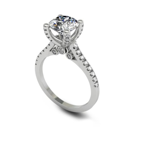 2.52 Ct Round Cut Diamond Engagement Ring Vvs1 / D 14K White Gold