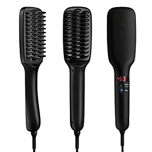 Hair Straightener,ATIVI 2-in-1 Ceramic Heating Ionic Hair Straightening Iron Brush Comb(5 Heat Settings,Auto Lock,Rotatable Power Cord,Anti-Scald) with Anti-Heat Gloves,Hair Clips& Cleaning Brush