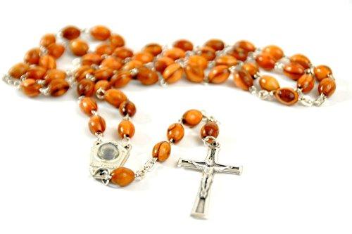 Olive Wood Catholic Rosary With Soil