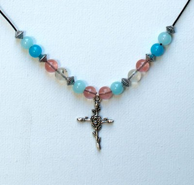 Cross Rose Necklace for Women, Girls, Teens, Pink Blue Beaded Cross Christian Jewelry