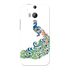 INKIF Peacock Painting Designer Case Printed Mobile Back Cover for HTC Desire One M8 (Multicolor)