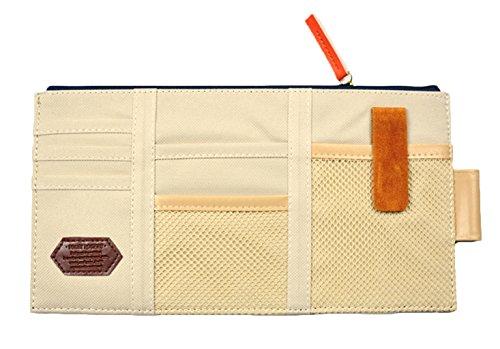 iSuperb Canvas Multi-function Car Space Sun Visor Organizer Card Phone Storage Pouch Bag (Beige)