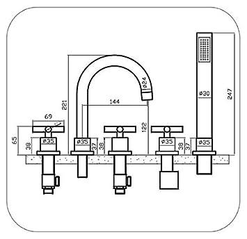 wannenrandarmatur 5 loch jawa badewanne armatur dee771. Black Bedroom Furniture Sets. Home Design Ideas