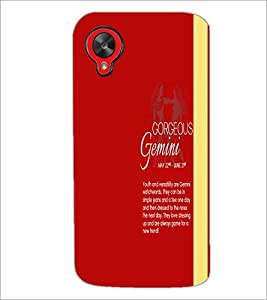 PrintDhaba Sunsign Gemini D-1236 Back Case Cover for LG GOOGLE NEXUS 5 (Multi-Coloured)