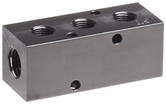"Polyconn PCM10-125-03B Black Anodizing Aluminum Manifold, 1/4"" NPT Female x 1/8"" NPT Female, 3 Stations"
