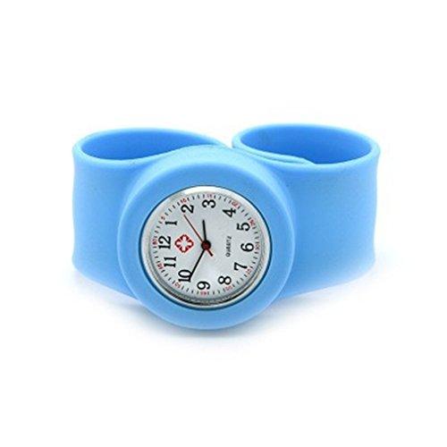new-light-blue-nurse-adult-wrist-watch-large-size-snap-slap-on-watch