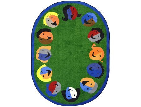 "Joy Carpets Kid Essentials Early Childhood Oval Joyful Faces Rug, Green, 5'4"" x 7'8"""